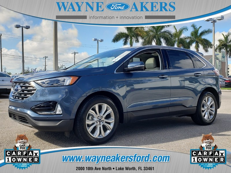 USED 2019 FORD EDGE TITANIUM WITH PANORAMIC VISTA ROOF in LAKE WORTH, FLORIDA